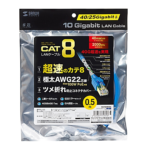 SANWA CAT 8 超高速網路線(2m)